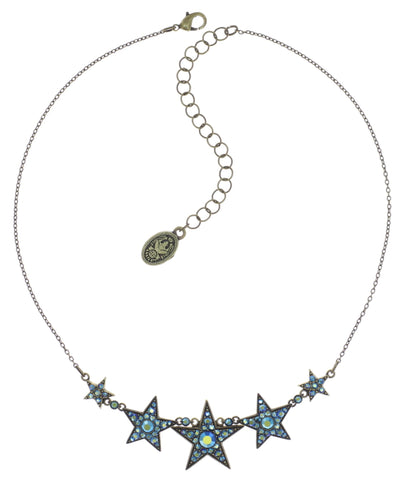 necklace Dancing Star blue antique brass