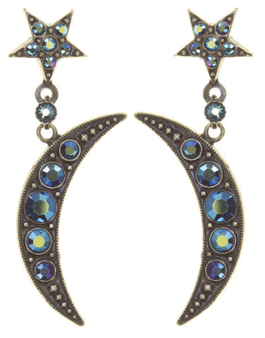 earring stud dangling Sky Lights blue antique brass