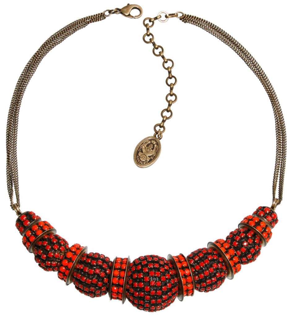 necklace Africanica red/orange antique brass