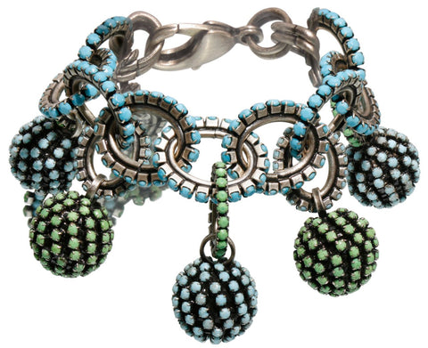 bracelet charming Africanica green/turquoise antique silver