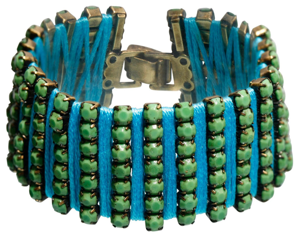 bracelet Africanica green antique silver