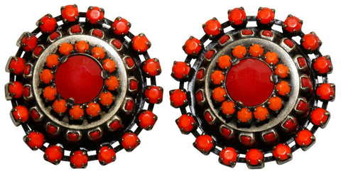 earring clip Africanica red/orange antique brass