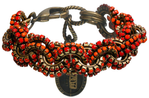 bracelet Africanica red/orange antique brass