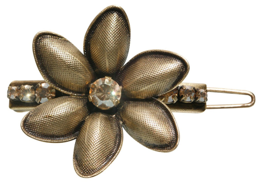 hairclip Blossoms of the Past brown Very Light Antique Brass
