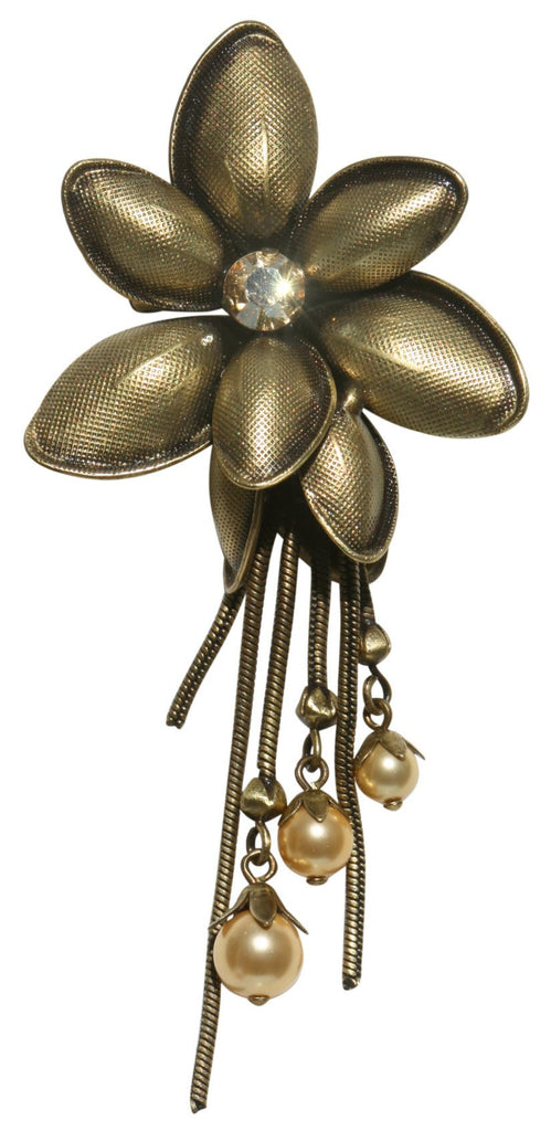 brooch Blossoms of the Past brown Very Light Antique Brass