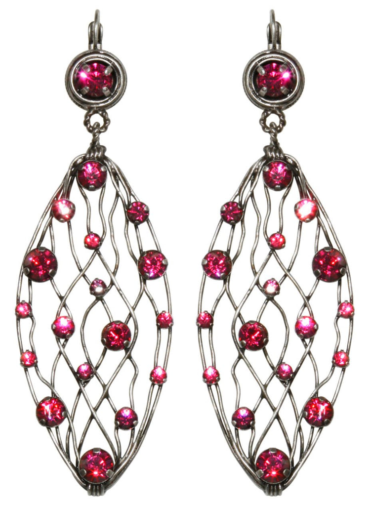 earring eurowire dangling Cages dark rose antique silver