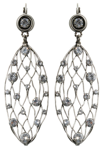 earring eurowire dangling Cages white antique silver