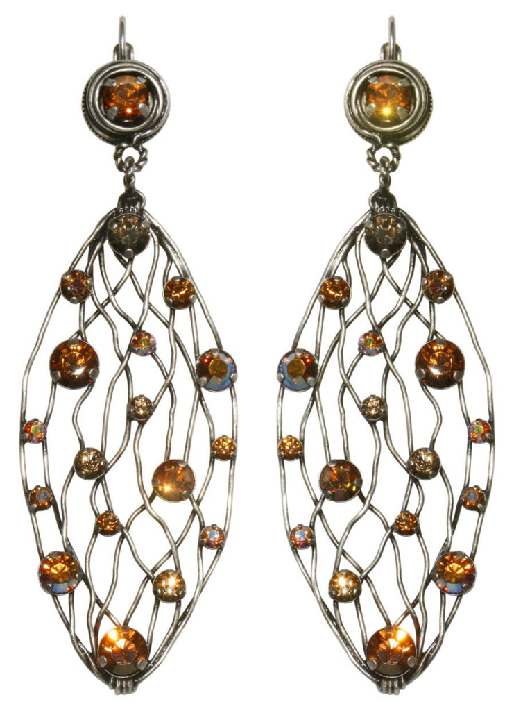 earring eurowire dangling Cages brown antique silver