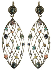 earring eurowire dangling Cages pastel multi antique brass