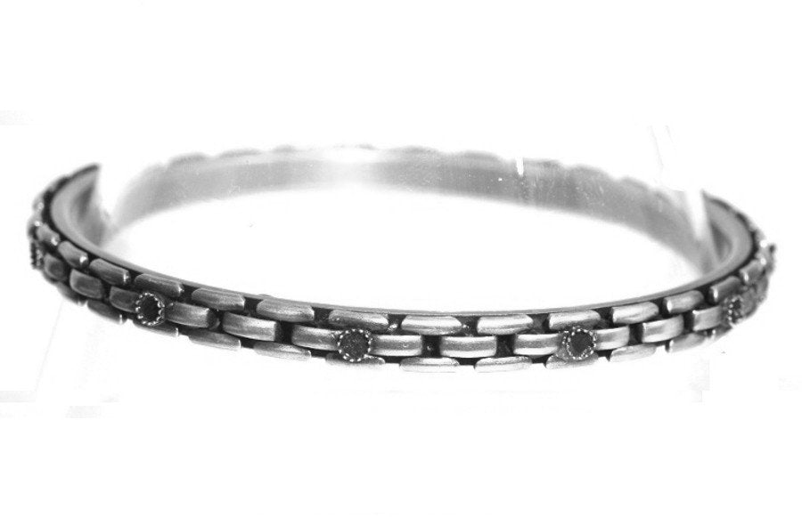 bracelet bangle Rock 'n' Glam white antique silver 75 mm