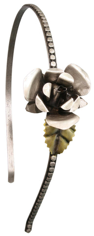 head band A Rose is a Rose is a Rose white antique silver