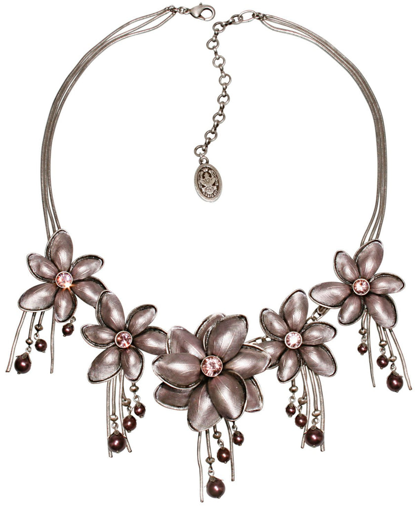necklace Blossoms of the Past pink Very Light Antique Silver
