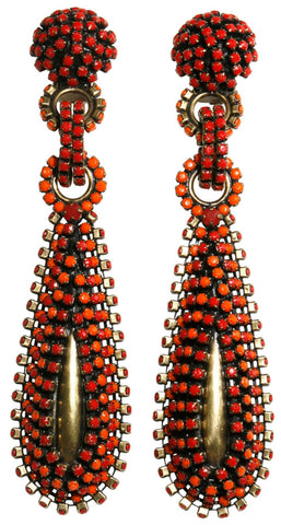 earring clip dangling Africanica red/orange antique brass