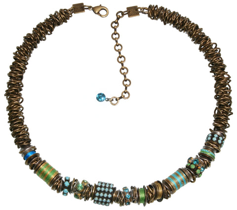 necklace Beduin blue/green antique silver/antique brass