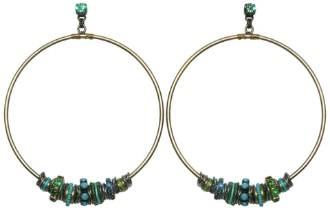 earring stud dangling Beduin blue/green antique silver