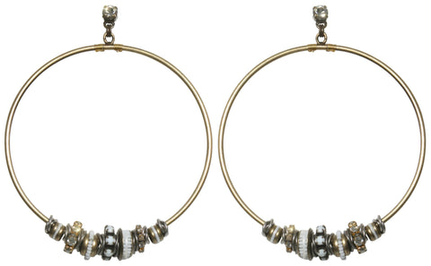 earring stud dangling Beduin white antique silver