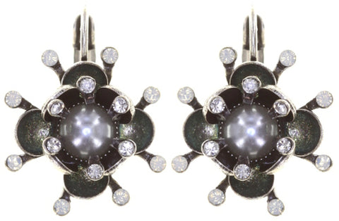 earring eurowire Petit Fleur de Bloom dragonfly antique silver