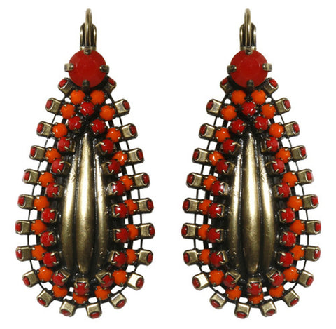 earring eurowire Africanica red/orange antique brass