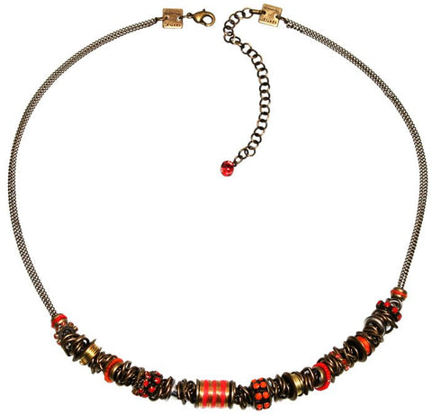 necklace Beduin red/orange antique brass