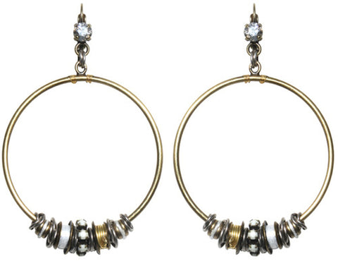 earring eurowire dangling Beduin white antique silver