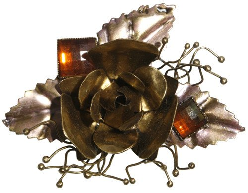 brooch A Rose is a Rose is a Rose pink Very Light Antique Brass