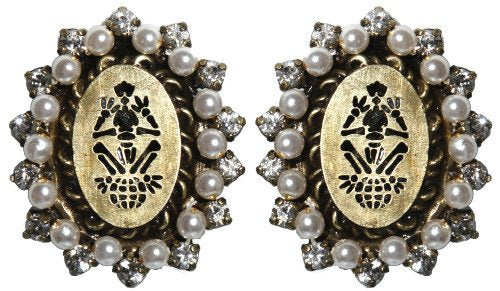 earring clip Sinners and Saints white antique brass