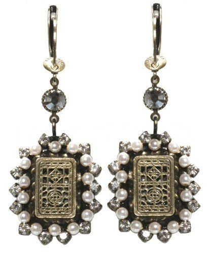earring dangling Sinners and Saints white antique brass