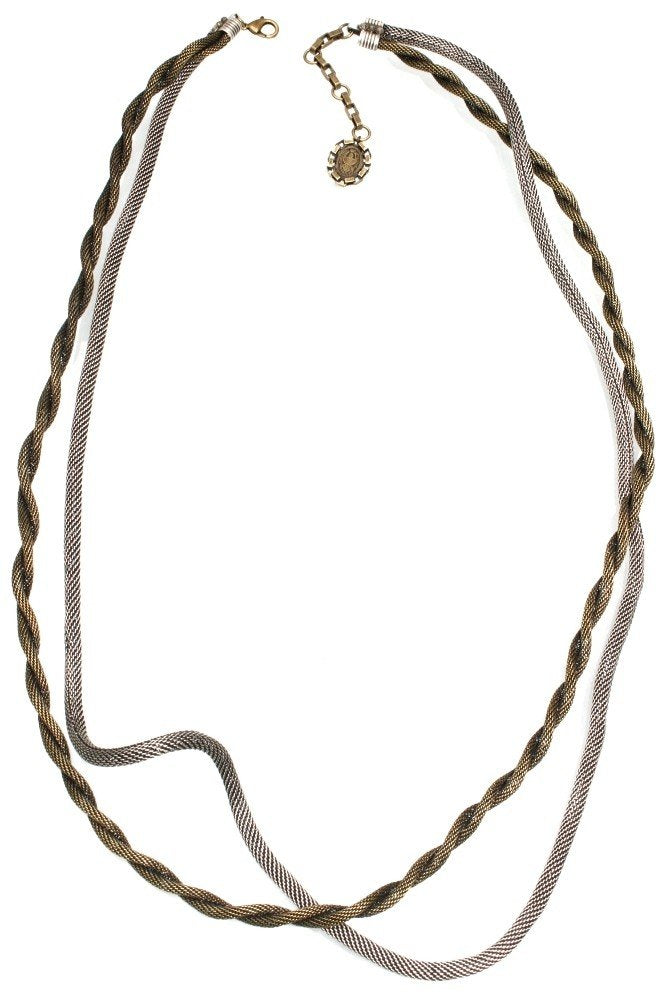 necklace (long) Rock 'n' Glam brown antique silver/antique brass