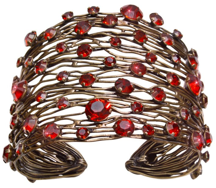 bracelet bangle Cages red antique brass