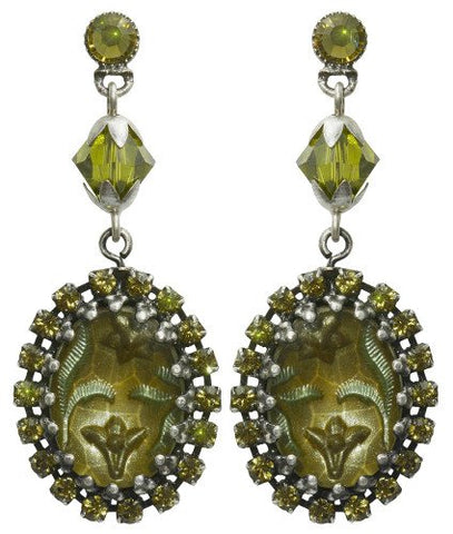 earring stud dangling Chinoiserie yellow/green antique silver