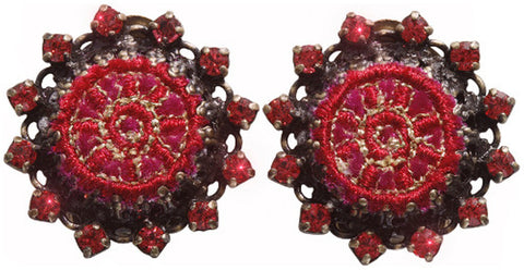earring clip Kalinka red antique brass