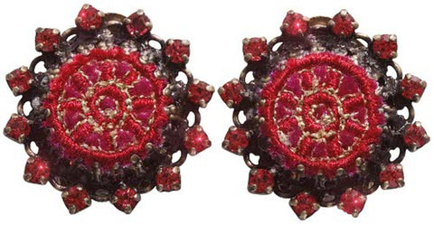earring stud Kalinka red antique brass