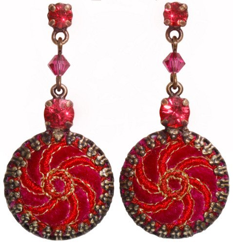 earring stud dangling Kalinka red antique brass