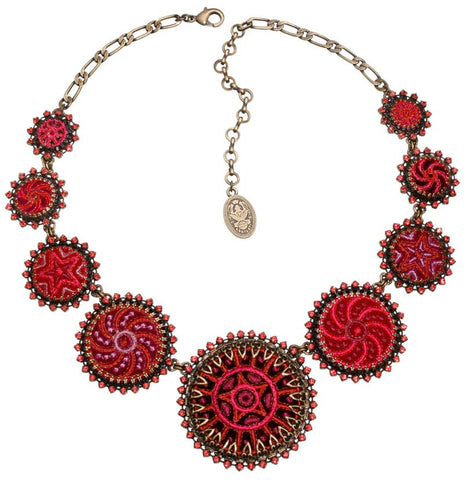 necklace collier Kalinka red antique brass