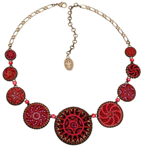 necklace Kalinka red antique brass