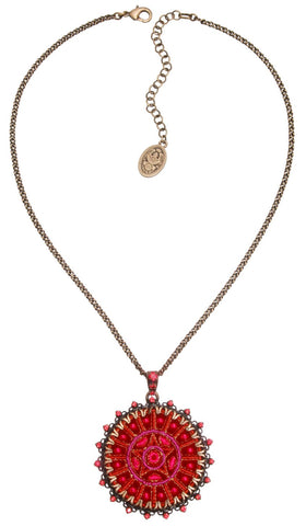 necklace pendant Kalinka red antique brass