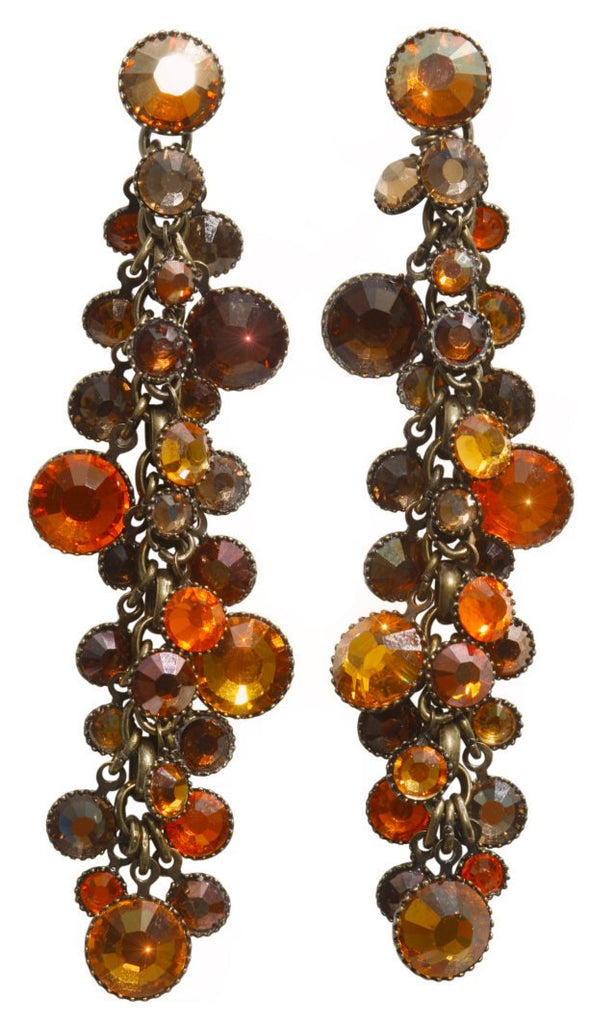 earring stud dangling Waterfalls brown/orange antique brass