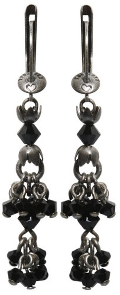 earring dangling Sinners and Saints black antique silver