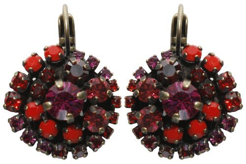 earring eurowire Las Vegas red antique brass