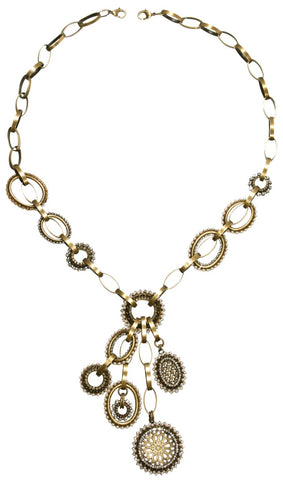 necklace-Y Sinners and Saints white antique brass