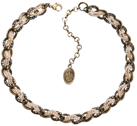 necklace Sinners and Saints white antique brass