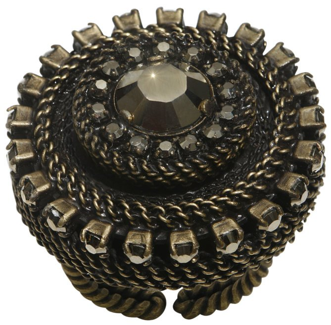 ring Rock 'n' Glam brown antique brass