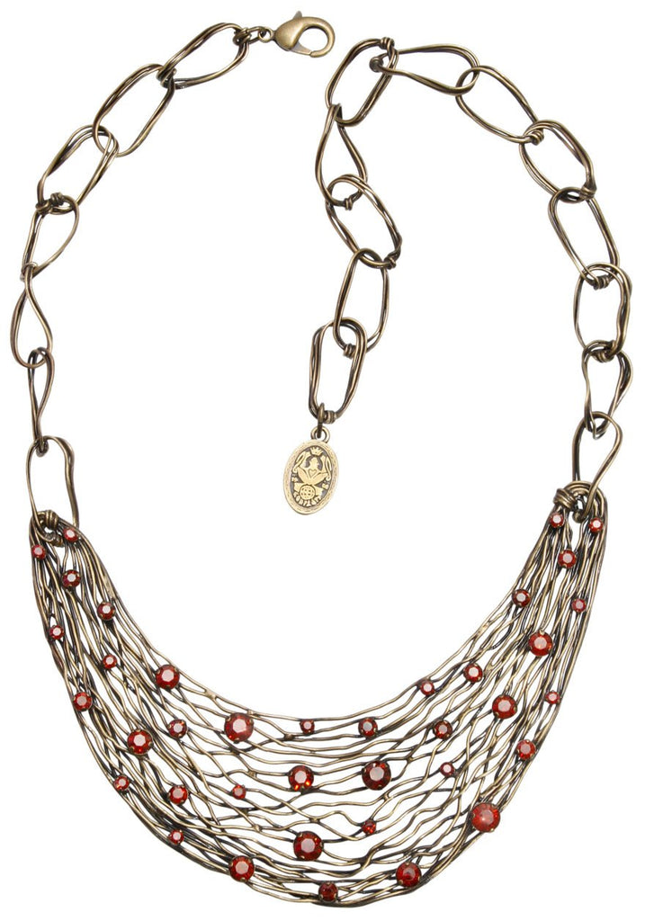 necklace Cages red antique brass