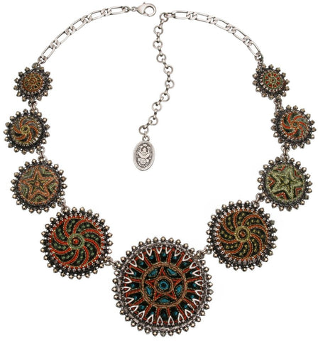 necklace collier Kalinka dark green antique silver