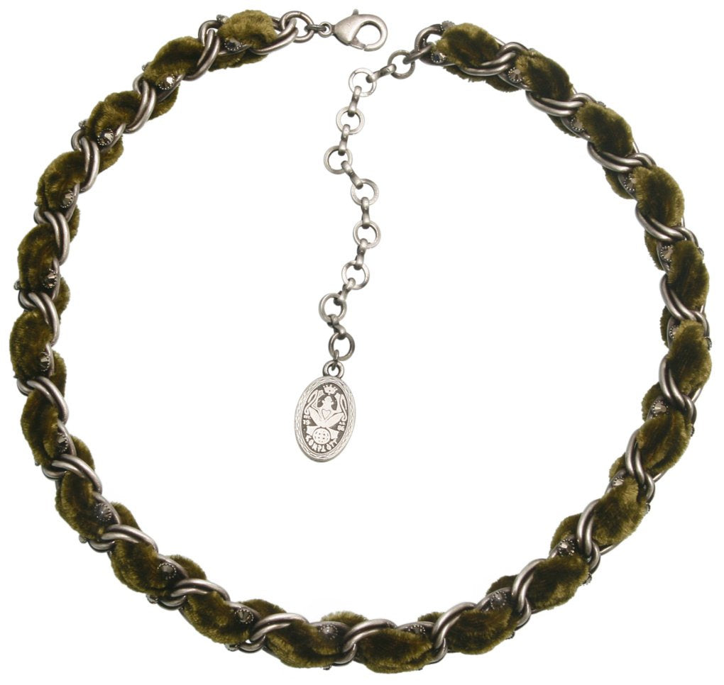 necklace Kalinka dark green antique silver