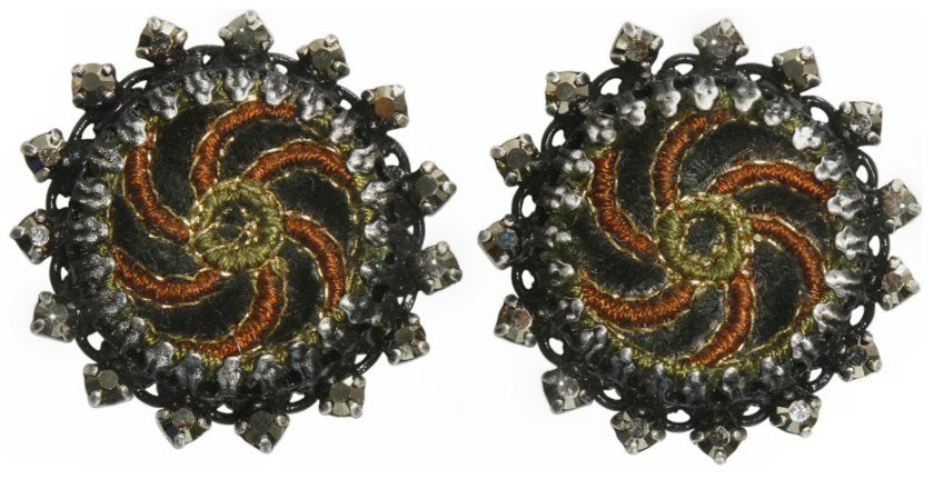 earring clip Kalinka dark green antique silver