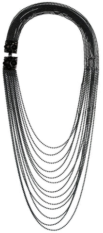 necklace (long) Noir black gun metal