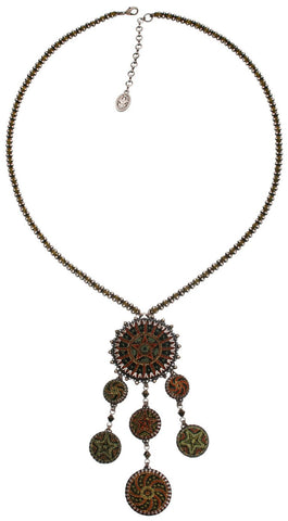 necklace-Y Kalinka dark green antique silver
