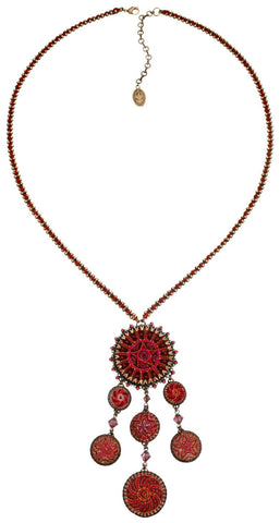 necklace-Y Kalinka red antique brass