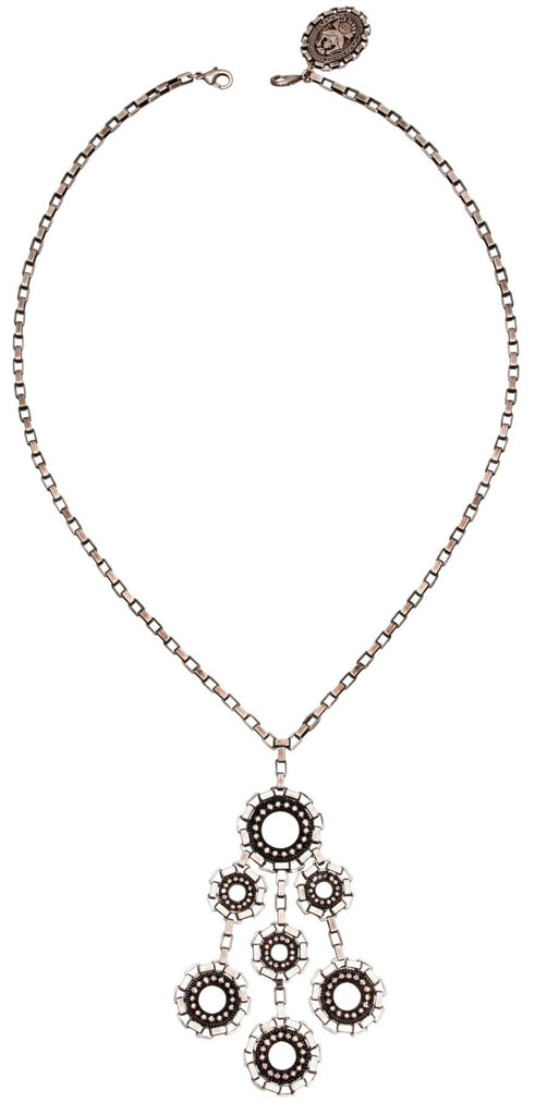 necklace-Y Rock 'n' Glam white antique silver